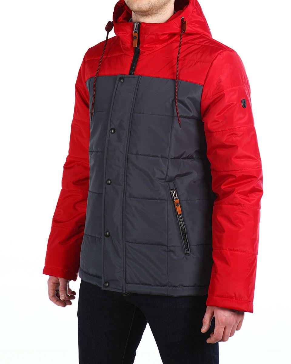 Куртка мужская Xaska, цвет: кpасный, темно-серый. 16603. Размер 46