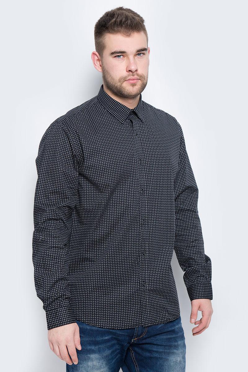 Рубашка мужская Broadway Rolla, цвет: черный, белый. 20100443_886. Размер L (50) пуловеры broadway пуловер