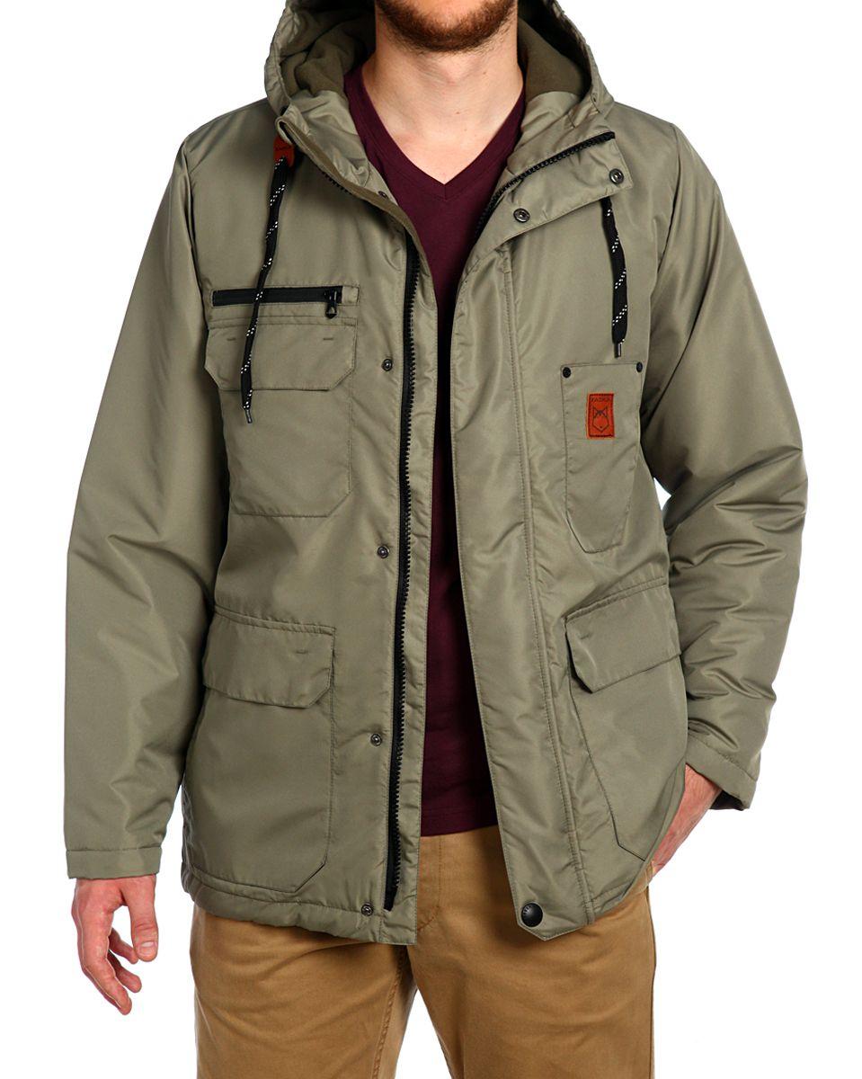 Куртка мужская Xaska, цвет: хаки. 15508. Размер 5215508_KhakiКуртка мужская Xaska выполнена из полиэстера. Модель с длинными рукавами и капюшоном застегивается на кнопки и застежку-молнию.
