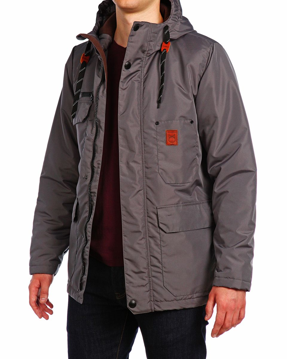 Куртка мужская Xaska, цвет: темно-сеpый. 15508. Размер 4815508_Dark GreyКуртка мужская Xaska выполнена из полиэстера. Модель с длинными рукавами и капюшоном застегивается на кнопки и застежку-молнию.