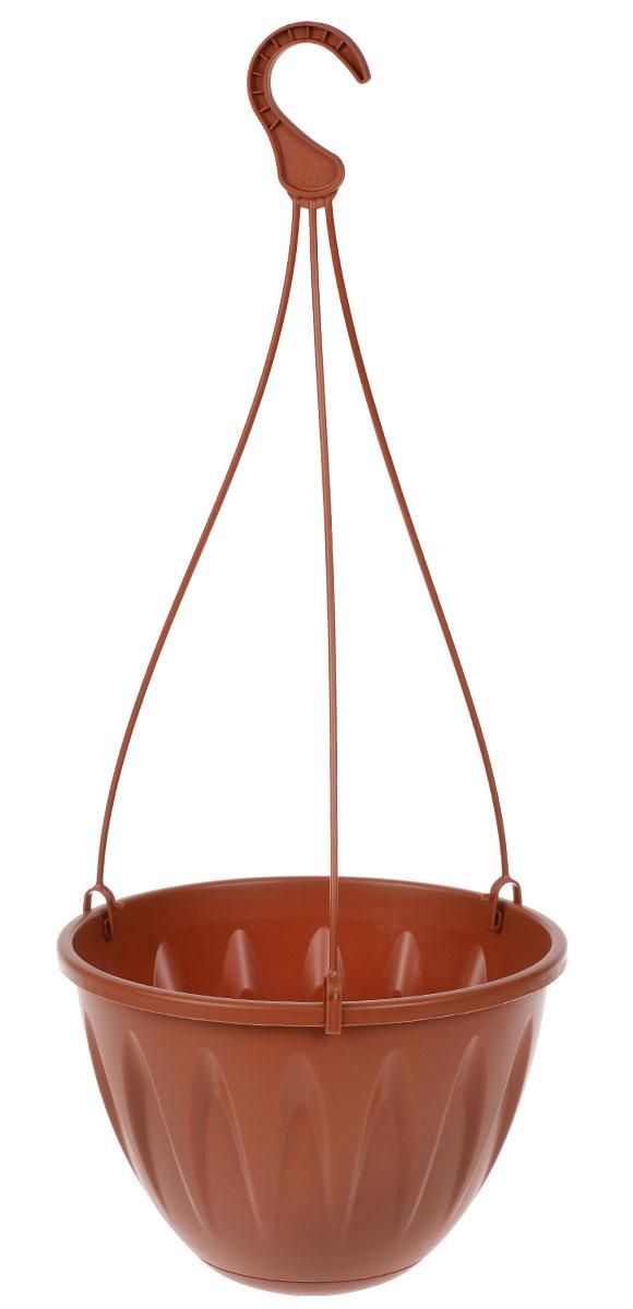 Кашпо подвесное Idea Алиция, с поддоном, цвет: терракотовый, диаметр 22 смМ 3115Подвесное кашпо Idea Алиция изготовлено из высококачественного пластика. Специальный поддон предназначен для стока воды. Изделие подвешивается с помощью тройных пластиковых усов с крючком и прекрасно подходит для выращивания растений и цветов в домашних условиях, а также в саду и на приусадебном участке. Стильный дизайн кашпо станет отличным дополнением интерьера.Диаметр поддона: 12 см.Длина усов (с учетом крючка): 47 см.