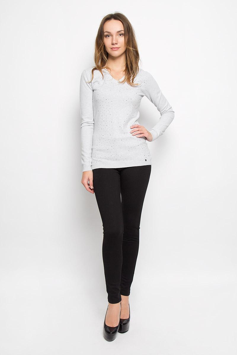 Джемпер женский Finn Flare, цвет: светло-серый. W16-11115_211. Размер L (48) платье finn flare цвет серый синий черный w16 11030 101 размер l 48