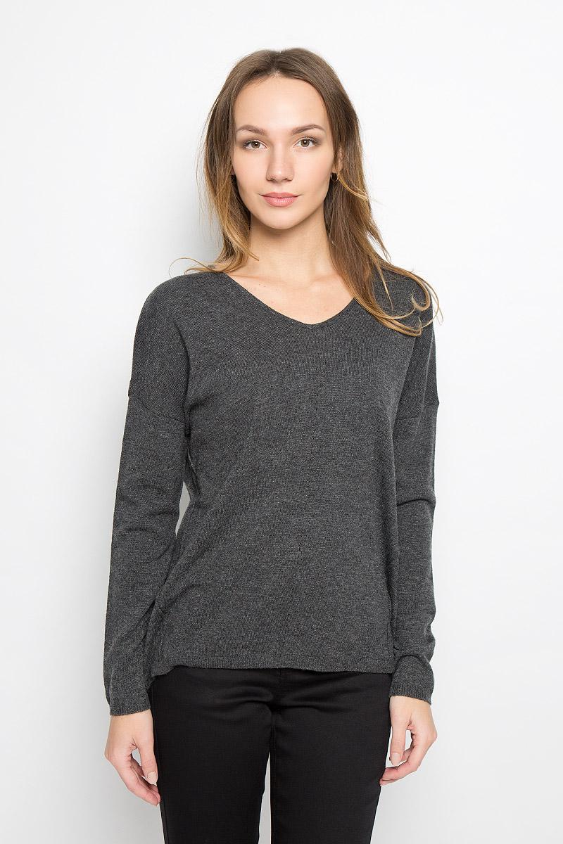 Пуловер женский Broadway Raygan, цвет: темно-серый. 10156854_826. Размер M (46)10156854_826Стильный женский пуловер, выполненный из полиакрила и нейлона с добавлением шерсти, отлично подойдет для прохладной погоды. Модель с V-образным вырезом горловины и длинными рукавами оформлена декоративными швами. Низ изделия и манжеты рукавов связаны резинкой.