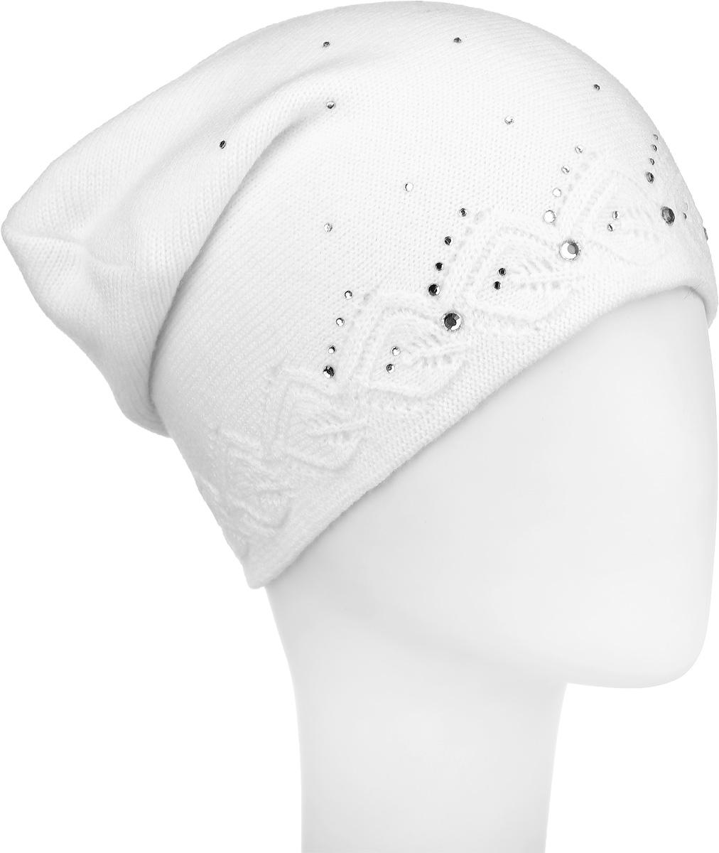 Шапка женская Finn Flare, цвет: белый. W16-11126_201. Размер 56 шапка женская finn flare цвет черный w16 11134 200 размер 56
