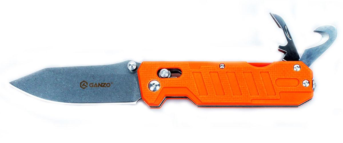Нож туристический Ganzo, цвет: оранжевый, стальной, длина лезвия 8,6 см. G735G735-ORСкладной нож Ganzo будет интересен одновременно и широкому кругу покупателей, и людям, увлекающимся экстремальными видами досуга на природе, а также профессиональным спасателям. Он располагает несколькими дополнительными инструментами, которые существенно расширяют базовую функциональность ножа.Клинок ножа, как и другие инструменты, изготовлен из качественной нержавеющей стали с маркировкой 440С. Это нержавеющая сталь с высоким уровнем антикоррозийных свойств. Твердость закалки сплава составляет +-58HRC. Таким образом, эта сталь долго держит острую заточку режущей кромки и может использоваться в условиях повышенной влажности.Лезвие ножа получило гладкую заточку Plain, которая считается универсальной и подходит практически для любых видов работ. Гладко заточенный нож делает ровные и максимально аккуратные разрезы. Клинок удерживается в выбранном положении за счет встроенного замка Axis-Lock. Это штифтовой механизм, который исключает вариант случайного срабатывания даже в том случае, если нож находится под нагрузкой. Важным моментом является то, что этот замок нужно периодически чистить и не допускать забивания внутрь грязи.Помимо клинка, нож располагает также дополнительными инструментами. В торцевой части рукоятки расположен стеклобой, а кроме того, в нее встроена открывалка для бутылок и консервных банок, с инструментом, который зачищает провода, и резак для веревок, ремней и строп. С их помощью вы легко справитесь с задачами, которые могут возникнуть в чрезвычайной ситуации, а также легче выполните некоторые стандартные виды работ во время пребывания за городом.Рукоятка данной модели ножа такая же практичная и долговечная, как и остальные его детали. Для нее используются накладки из композитного материала G10, который представляет собою соединение стекловолокна и эпоксидных смол. Это эргономичная и прочная ручка с фактурной не скользящей в руках поверхностью. Она не подвержена корр