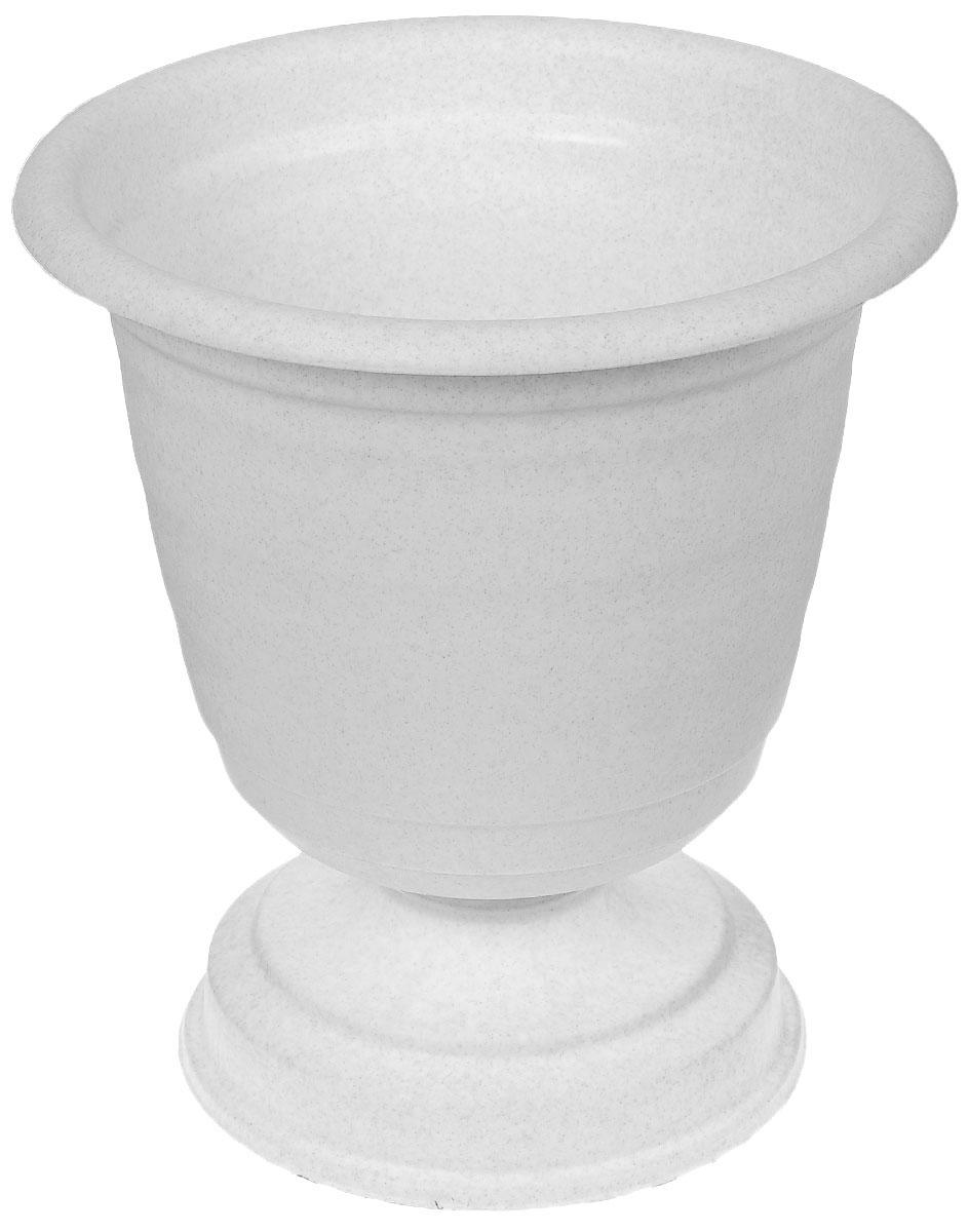 Кашпо-вазон Idea Ламела, цвет: мраморный, диаметр 33 см