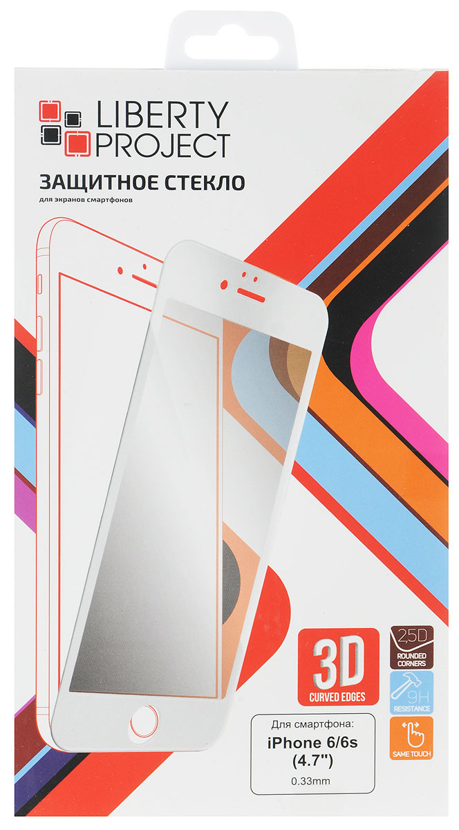 Liberty Project Tempered Glass 3D защитное стекло для Apple iPhone 6/6s, White (0,33 мм)