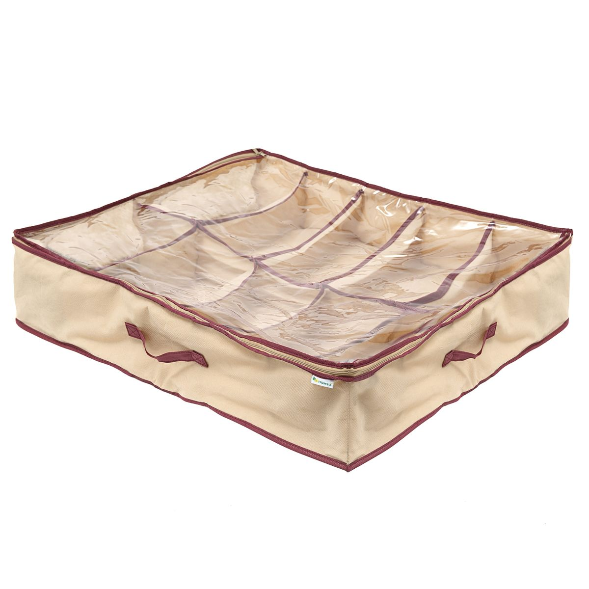 Органайзер для обуви Homsu Comfort, цвет: бежевый, 66 x 63 x 11 смHOM-681Очень удобный способ хранить сезонную обувь. Десять отделений вмещают 10 пар обуви. Органайзер плоский, удобно хранить под кроватью или диваном. Размер изделия:66x63x11см
