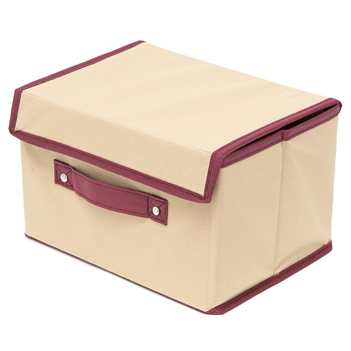 Коробка для хранения Homsu Comfort, с крышкой, цвет: бежевый, 38 x 25 x 25 смHOM-682Коробка для хранения Homsu  Comfort изготовлена из поливинилхлорида и спанбонда. Изделие легко и быстро складывается. Оптимальный размер позволяет хранить в ней любые вещи и предметы. Изделие имеет жесткие борта и крышку, что является гарантией сохранности вещей. Коробка дополнена ручкой.