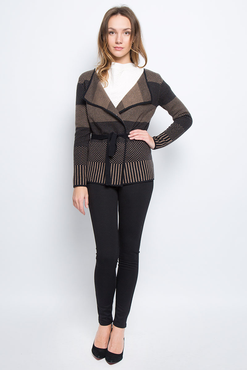 Кардиган женский Finn Flare, цвет: черный, коричневый. W16-11107_200. Размер L (48) женский кардиган 013a56