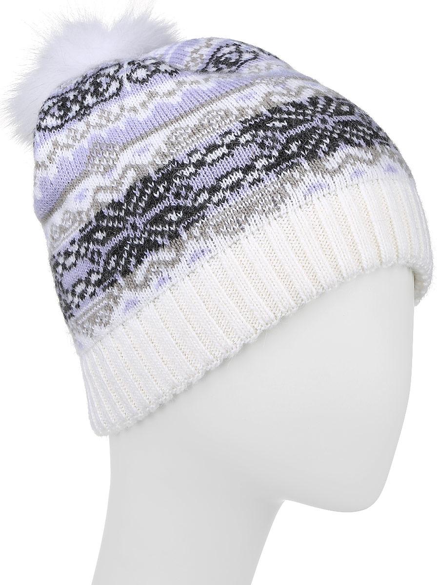 Шапка женская Finn Flare, цвет: белый, сиреневый. W16-12117_201. Размер 56W16-12117_201Стильная женская шапка Finn Flare дополнит ваш наряд и не позволит вам замерзнуть в холодное время года. Шапка выполнена из высококачественной пряжи, что позволяет ей великолепно сохранять тепло и обеспечивает высокую эластичность и удобство посадки.Модель оформлена оригинальным орнаментом и дополнена пушистым помпоном из меха песца. Такая шапка станет модным и стильным дополнением вашего гардероба.Уважаемые клиенты!Размер, доступный для заказа, является обхватом головы.
