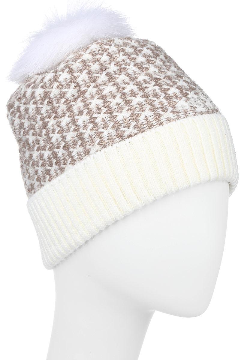 Шапка женская Finn Flare, цвет: белый, светло-коричневый. W16-32126_201. Размер 56  - купить со скидкой