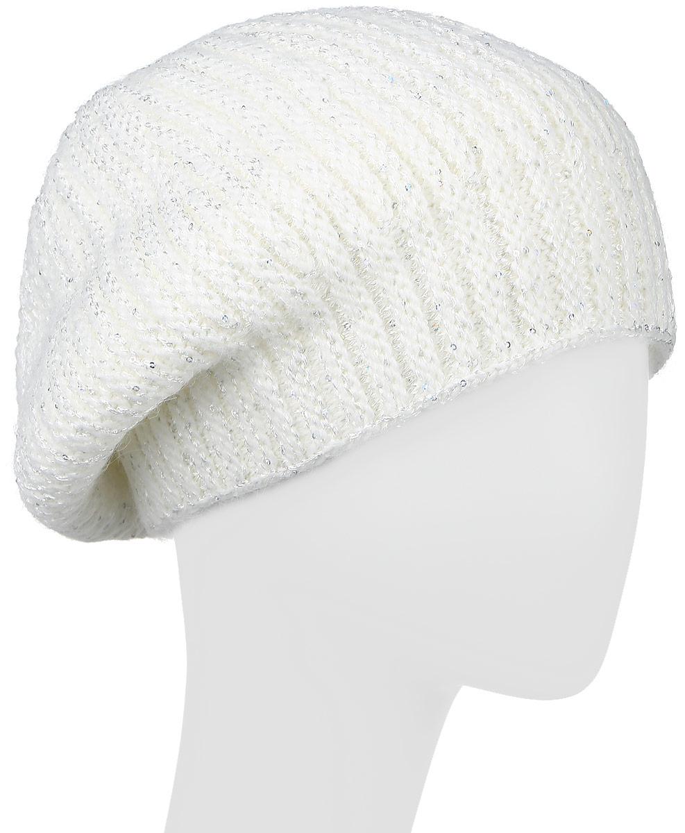 Шапка женская Finn Flare, цвет: белый. W16-11139_711. Размер 56 шапка женская nuages цвет голубой nh 742 106 размер универсальный