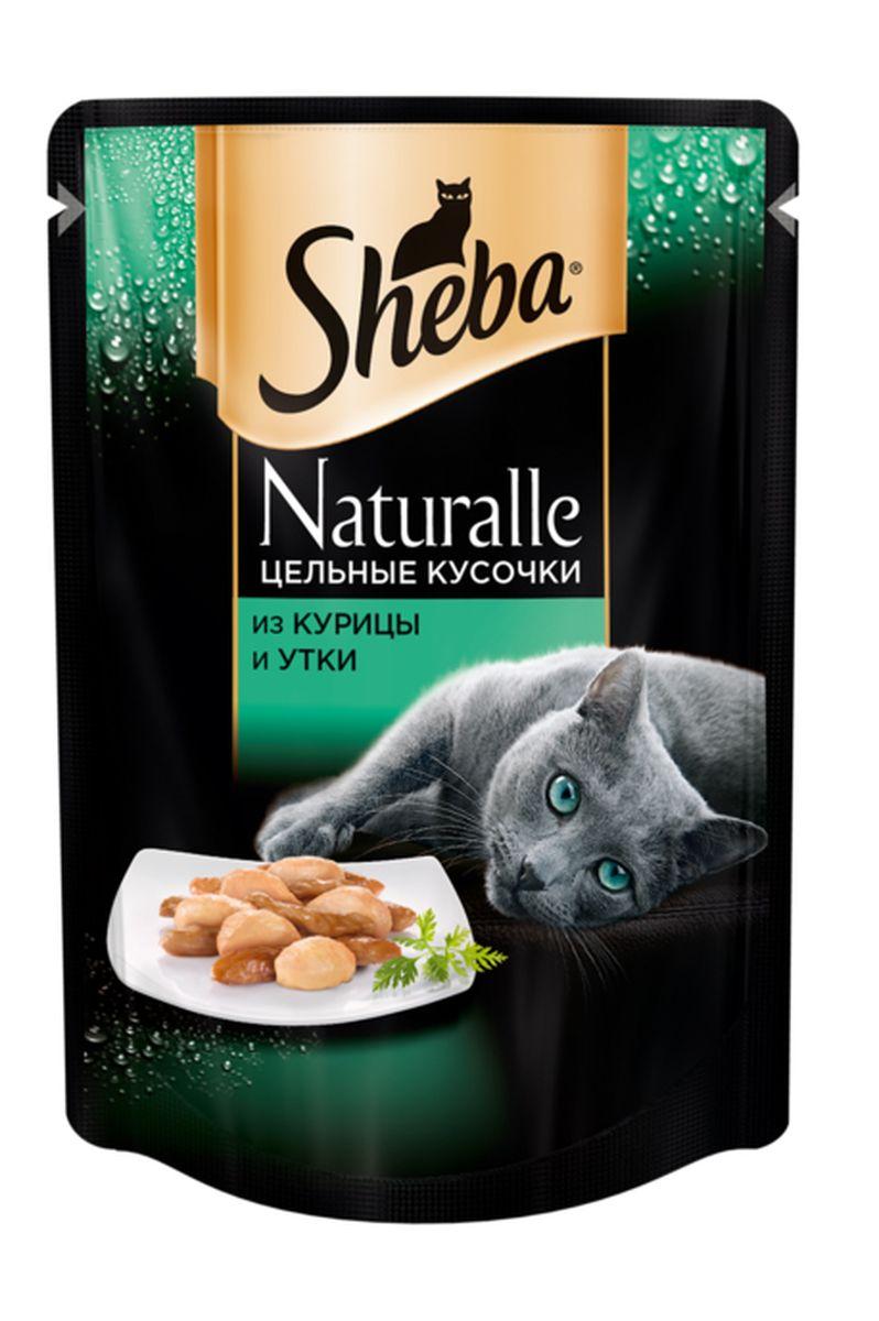 Консервы для кошек Sheba Naturalle, с курицей и уткой, 80 г корм sheba пауч naturalle рыба 80g 10168280