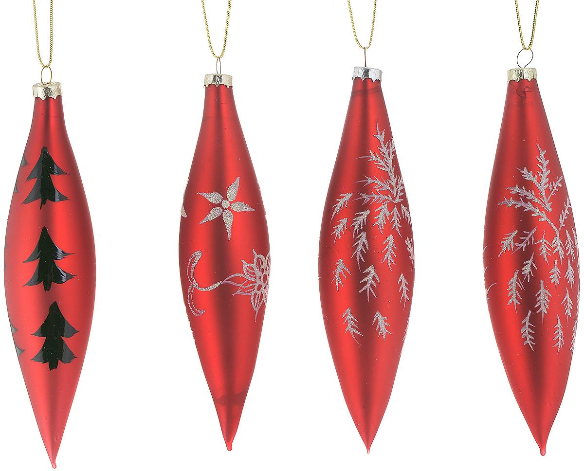 Набор новогодних подвесных украшений Winter Wings Сосульки, цвет: красный, черный, белый, 4 штN07324_красныйНабор Winter Wings Сосульки состоит из 4 подвесных украшений, выполненных из стекла. Оригинальные новогодние украшения прекрасно подойдут для праздничного декора дома и новогодней ели. С помощью специальной петельки их можно повесить в любом понравившемся вам месте. Но, конечно, удачнее всего такие игрушки будут смотреться на праздничной елке. Елочная игрушка - символ Нового года и Рождества. Она несет в себе волшебство и красоту праздника. Создайте в своем доме атмосферу веселья и радости, украшая новогоднюю елку нарядными игрушками, которые будут из года в год накапливать теплоту воспоминаний. Средний размер украшения: 3 х 3 х 14 см.