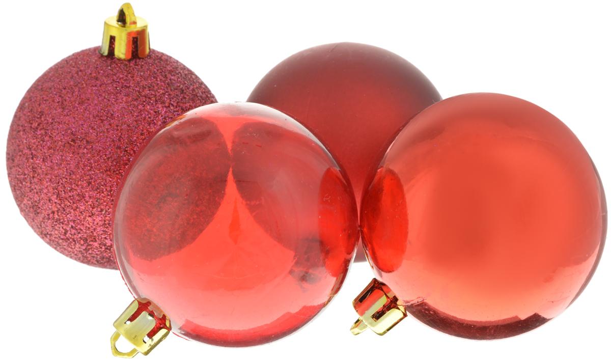 Набор новогодних подвесных украшений Winter Wings Шары, цвет: красный, диаметр 5,5 см, 4 штN181097_красныйНабор подвесных украшений Winter Wings Шары прекрасно подойдет для праздничного декора новогодней ели. Набор состоит из 4 пластиковых украшений в виде шаров. 1 шар прозрачный, 1 глянцевый, 1 матовый и 1 покрыт блестками. Для удобного размещения на елке для каждого украшения предусмотрено отверстие для петельки. Елочная игрушка - символ Нового года. Она несет в себе волшебство и красоту праздника. Создайте в своем доме атмосферу веселья и радости, украшая новогоднюю елку нарядными игрушками, которые будут из года в год накапливать теплоту воспоминаний. Откройте для себя удивительный мир сказок и грез. Почувствуйте волшебные минуты ожидания праздника, создайте новогоднее настроение вашим дорогим и близким.Диаметр украшения: 5,5 см.