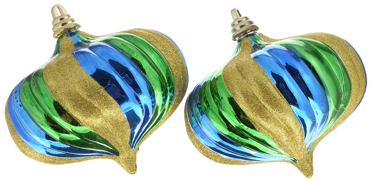 Набор новогодних подвесных украшений Winter Wings Луковица, цвет: золотой, синий, зеленый, 2 штN069435_золото/синий/зеленыйНабор подвесных украшений Winter Wings Луковица прекрасно подойдет для праздничного декора новогодней ели. Набор состоит из 2 украшений в виде луковиц. Изделия выполнены из пластика и декорированы блестками. Для удобного размещения на елке для каждого украшения предусмотрены текстильная петелька и лента. Елочная игрушка - символ Нового года. Она несет в себе волшебство и красоту праздника. Создайте в своем доме атмосферу веселья и радости, украшая новогоднюю елку нарядными игрушками, которые будут из года в год накапливать теплоту воспоминаний. Откройте для себя удивительный мир сказок и грез. Почувствуйте волшебные минуты ожидания праздника, создайте новогоднее настроение вашим дорогим и близким.