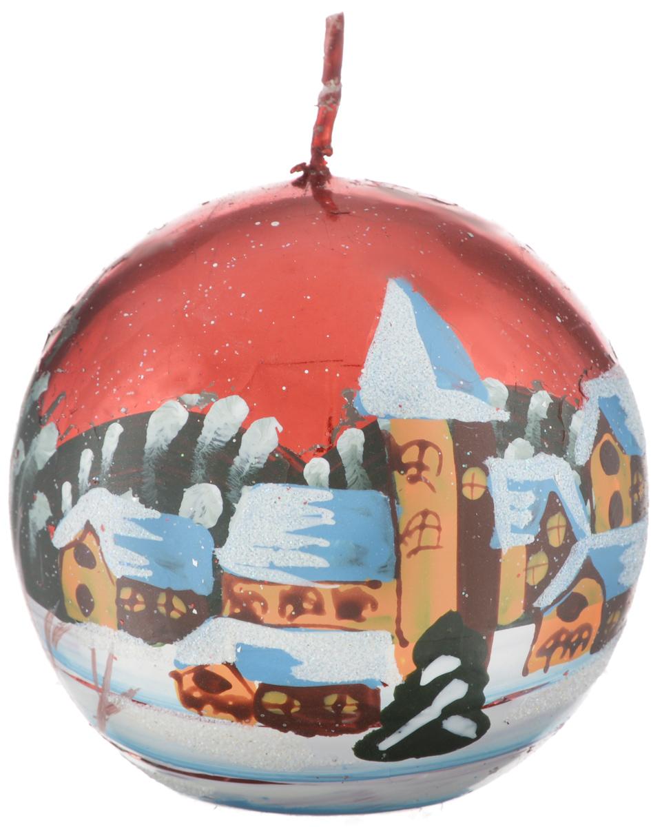 Свеча новогодняя Winter Wings Шар. Зимний пейзаж, 7,3 х 7,3 смN162422Новогодняя свеча Winter Wings Шар. Зимний пейзаж выполнена из парафина с добавлением красителей и снабжена х/б фитилем. Изделие декорировано красивым рисунком в зимней тематике. Такая свеча красиво дополнит интерьер вашего дома в преддверии Нового года. Создайте для себя и своих близких незабываемую атмосферу праздника и уюта в доме.