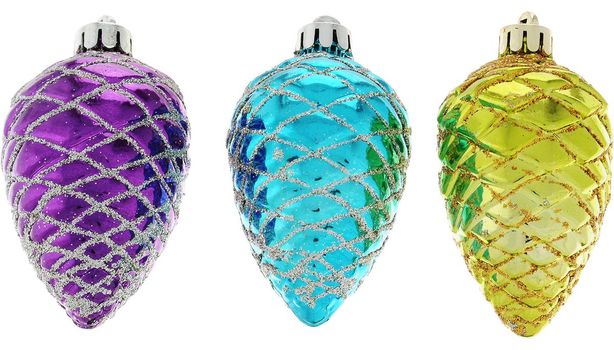 Набор новогодних подвесных украшений Winter Wings Шишки, цвет: пурпурный, бирюзовый, светло-зеленый, высота 7 см, 3 штN180955Набор новогодних подвесных украшений Winter Wings Шишки прекрасно подойдет для праздничного декора новогодней ели. Набор состоит из трех пластиковых украшений в виде шишек. Для удобного размещения на елке для каждого изделия предусмотрена текстильная петелька. Елочная игрушка - символ Нового года. Она несет в себе волшебство и красоту праздника. Создайте в своем доме атмосферу веселья и радости, украшая новогоднюю елку нарядными игрушками, которые будут из года в год накапливать теплоту воспоминаний.