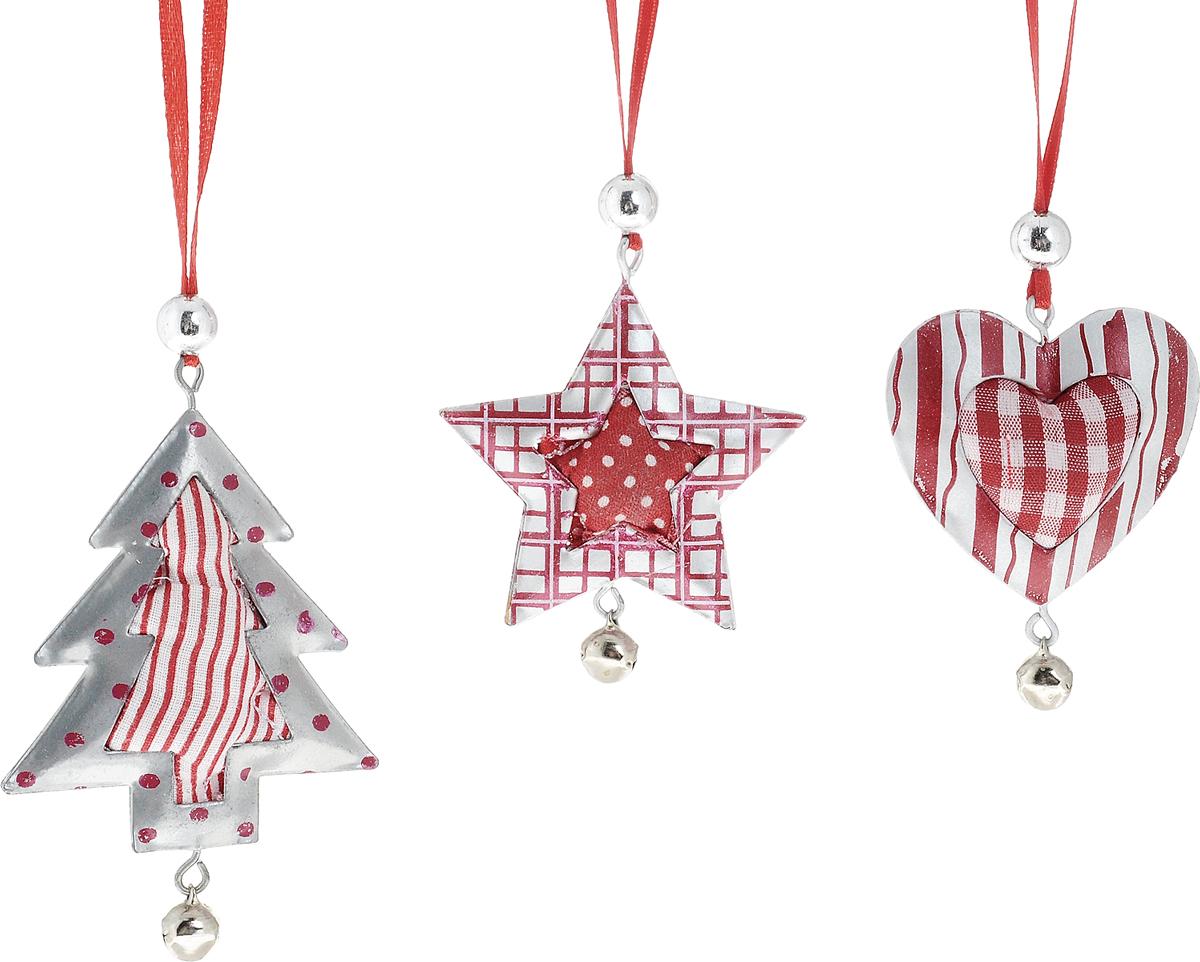 """Набор Winter Wings """"Подвески энерджи"""" состоит из 3  подвесных украшений, выполненных из металла и  текстиля в виде сердца, елки и звезды. Оригинальные  новогодние украшения прекрасно подойдут для  праздничного декора дома и новогодней ели. С помощью  петельки их можно повесить в любом понравившемся  вам месте. Но, конечно, удачнее всего такие игрушки  будут смотреться на праздничной елке. Изделия  оснащены бубенчиком.   Елочная игрушка - символ Нового года и Рождества. Она  несет в себе волшебство и красоту праздника. Создайте  в своем доме атмосферу веселья и радости, украшая  новогоднюю елку нарядными игрушками, которые будут  из года в год накапливать теплоту воспоминаний.   Размер украшения в виде сердца: 5 х 2 х 6 см. Размер украшения в виде звезды: 5,7 х 1,3 х 7 см.  Размер украшения в виде елки: 6 х 2 х 9,5 см."""