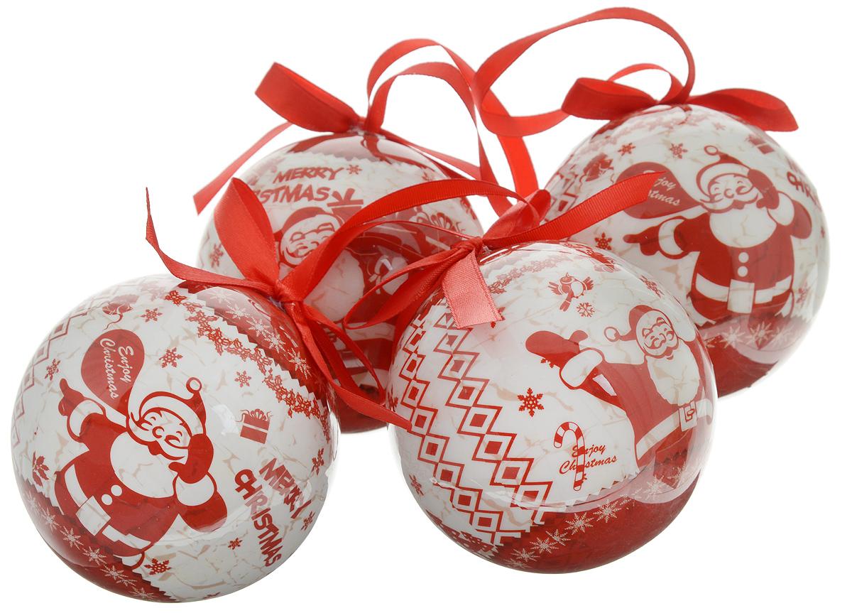 """Набор Winter Wings """"Веселый Дед Мороз"""" отлично подойдет для декорации вашего дома и новогодней ели. Набор состоит из 4 украшений, выполненных из пластика в виде шаров. Изделия оснащены специальными текстильными петельками для подвешивания в виде бантиков.  Набор упакован в красочную подарочную коробку.  Елочная игрушка - символ Нового года. Она несет в себе волшебство и красоту праздника. Создайте в своем доме атмосферу веселья и радости, украшая всей семьей новогоднюю елку нарядными игрушками, которые будут из года в год накапливать теплоту воспоминаний."""