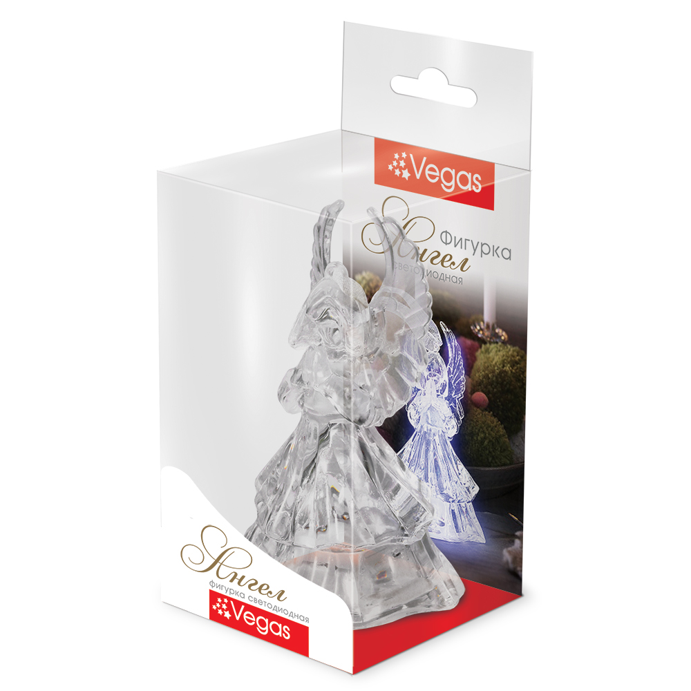 Фигура светодиодная Vegas Ангел, 5 х 9,5 см, свет: мультиколор. 5505355053Светодиодные фигурки VEGAS Фигурка Ангел светодиодная, 5*9,5 см, меняет цвет, с батарейкой /60