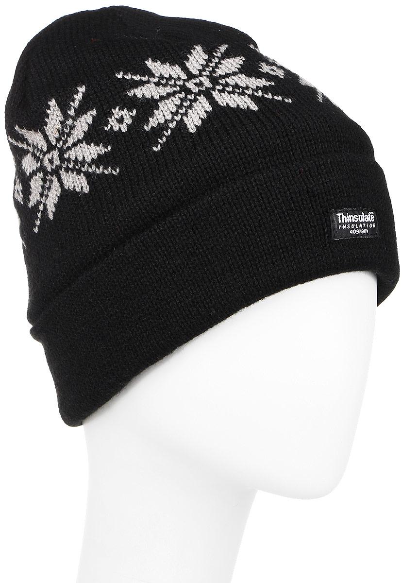 Шапка Ignite, цвет: черный. 304632. Размер 54/56304632Вязаная шапка Ignite идеально подойдет для вас в холодное время года. Изготовленная из акрила, она мягкая и приятная на ощупь, обладает хорошими дышащими свойствами и максимально удерживает тепло. Модель плотно облегает голову, благодаря чему надежно защищает от ветра и мороза. Подкладка шапки выполнена из мягкого теплого флиса. В качестве утеплителя используется тинсулейт - материал из тонких микроволокон, легкий и в тоже время очень теплый. Он не впитывает влагу, благодаря чему изделие даже в сырую дождливую погоду будет идеально вас согревать.Шапка оформлена вязаным рисунком, а также дополнена небольшой нашивкой. Такой стильный и теплый аксессуар дополнит ваш образ и подчеркнет индивидуальность!Уважаемые клиенты!Размер, доступный для заказа, является обхватом головы.