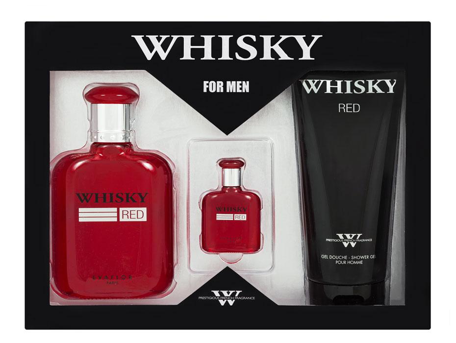 Evaflor Подарочный набор Whisky Red мужской: Туалетная вода 100мл, миниатюра 7,5мл, гель для душа 200мл42468Подарочный набор для мужчин : туалетная вода 100мл, миниатюра туалетной воды 7,5мл, парфюмированный гель для душа 200мл. Аромат: Пряный, фужерный