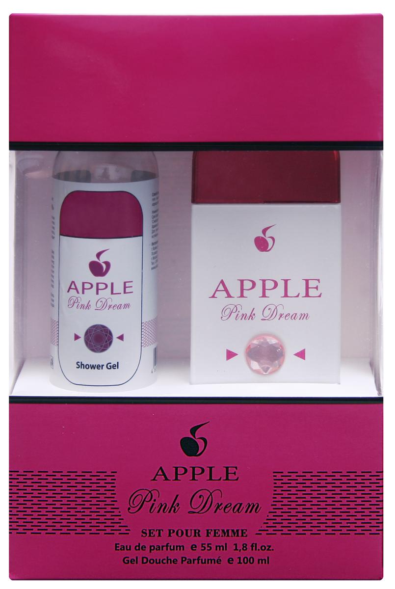 Apple Parfums Подарочный наборApple Femme Pink dream, женский Туалетная вода , 55мл , гель для душа 100мл вода туалетная flowers eclat 100 мл