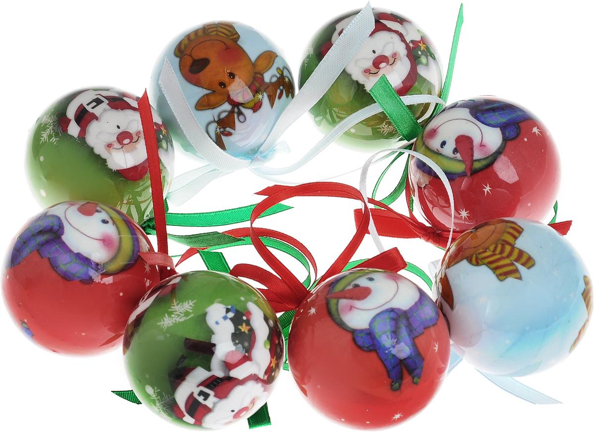 Набор новогодних подвесных украшенийWinter Wings Новогодние герои, диаметр 5 см, 8 штN181200Набор Winter Wings Новогодние герои отлично подойдет для декорации вашего дома и новогодней ели. Набор состоит из 8 украшений, выполненных из пластика в виде шаров. Изделия оснащены специальными текстильными петельками для подвешивания в виде бантиков.Набор упакован в красочную подарочную коробку.Елочная игрушка - символ Нового года. Она несет в себе волшебство и красоту праздника. Создайте в своем доме атмосферу веселья и радости, украшая всей семьей новогоднюю елку нарядными игрушками, которые будут из года в год накапливать теплоту воспоминаний.
