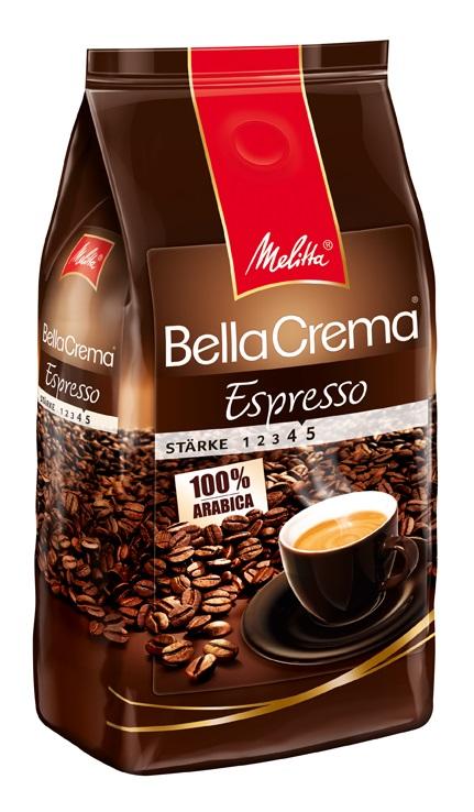 Melitta BellaCrema Espresso кофе в зернах, 1 кг00830100% Арабика Крепкий кофе для Эспрессо Кофейная композиция с легкими перечными нотками Мягкая упаковка с клапаном Предназначен для приготовления кофе в кофеварках и кофемашинах Можно молоть вручную и варить в турке