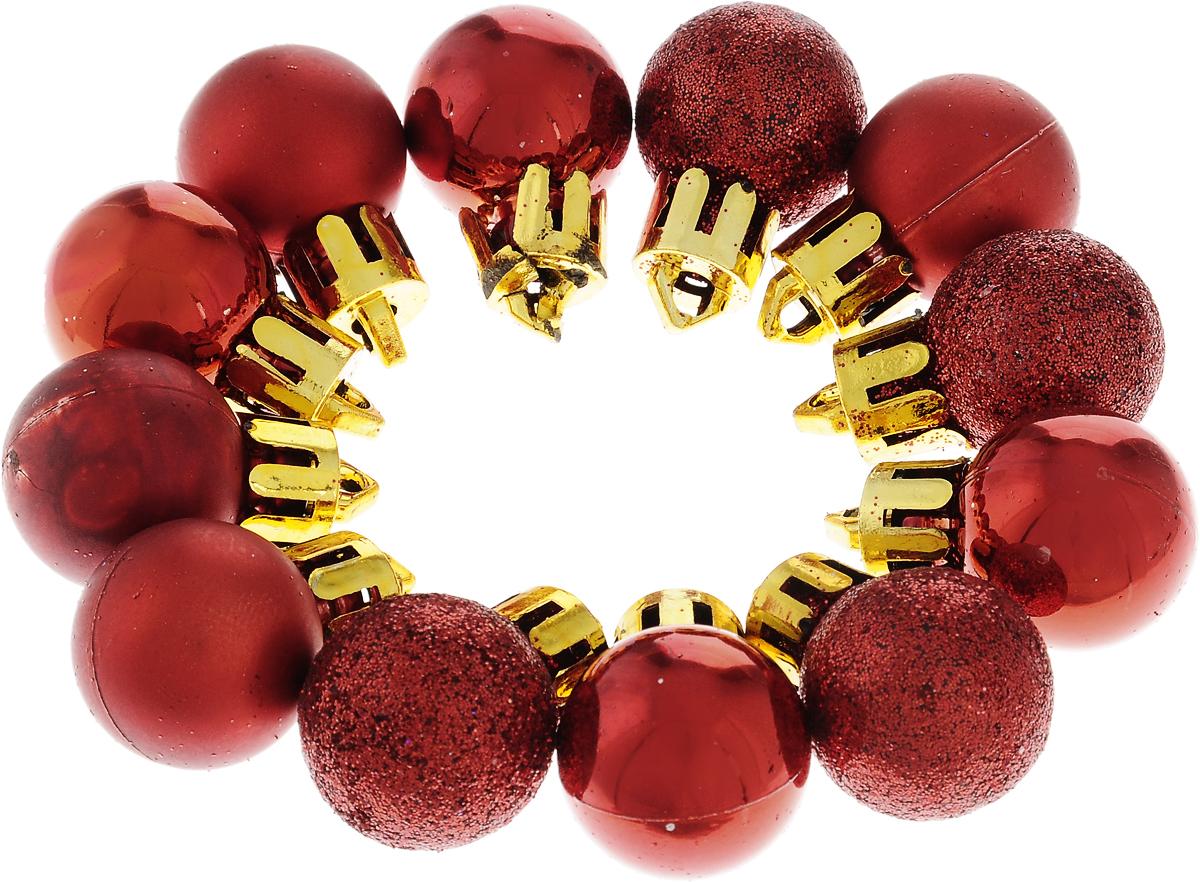 Украшение новогоднее подвесное Winter Wings Шары, цвет: красный, диаметр 2 см, 12 штN181761Набор украшений Winter Wings Шары прекрасно подойдет для праздничного декора новогодней ели. Изделия выполнены из высококачественного пластика. Набор включает в себя 6 матовых и 6 блестящих шаров. Для удобного размещения на елке на украшениях предусмотрены веревочки.Елочная игрушка - символ Нового года. Она несет в себе волшебство и красоту праздника. Создайте в своем доме атмосферу веселья и радости, украшая новогоднюю елку нарядными игрушками, которые будут из года в год накапливать теплоту воспоминаний. Откройте для себя удивительный мир сказок и грез. Почувствуйте волшебные минуты ожидания праздника, создайте новогоднее настроение вашим дорогим и близким.