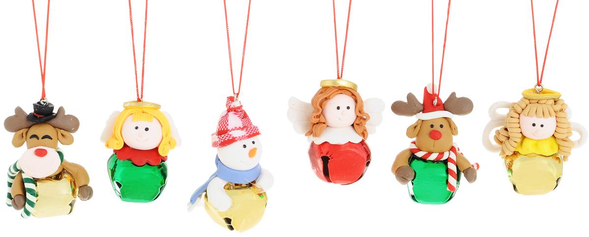 Украшение новогоднее подвесное Winter Wings Бубенчики, высота 5 см, 6 штN161853Набор украшений Winter Wings Бубенчики прекрасно подойдет для праздничного декора новогодней ели. Изделия выполнены из высококачественного полимерного материала. Набор состоит из 6 разных фигурок с новогодней тематикой. Внутри каждой фигурки находится бубенчик, который звенит при тряске. Для удобного размещения на елке на украшениях предусмотрены веревочки.Елочная игрушка - символ Нового года. Она несет в себе волшебство и красоту праздника. Создайте в своем доме атмосферу веселья и радости, украшая новогоднюю елку нарядными игрушками, которые будут из года в год накапливать теплоту воспоминаний. Откройте для себя удивительный мир сказок и грез. Почувствуйте волшебные минуты ожидания праздника, создайте новогоднее настроение вашим дорогим и близким.