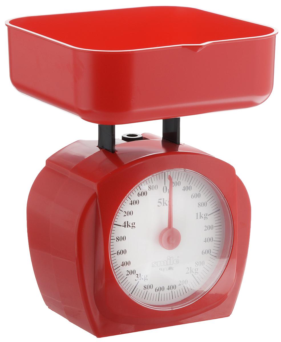 Весы кухонные Smile, цвет: красный, белыйKS 3207Механические кухонные весы Smile выполнены из прочного пластика. Циферблат снабжен отметками граммов и килограммов, а также стрелкой. Весы имеют регулятор нулевой отметки. Особенности весов Smile:- надежный механизм,- цена деления: 40 г,- максимальная нагрузка 5 кг,- удобная чаша на 750 мл.- простой и быстрый способ проверить вес продуктов.Размер весов (с учетом чаши): 15,5 х 15 х 20,5 см.Размер чаши: 15,5 х 15 х 5,5 см.