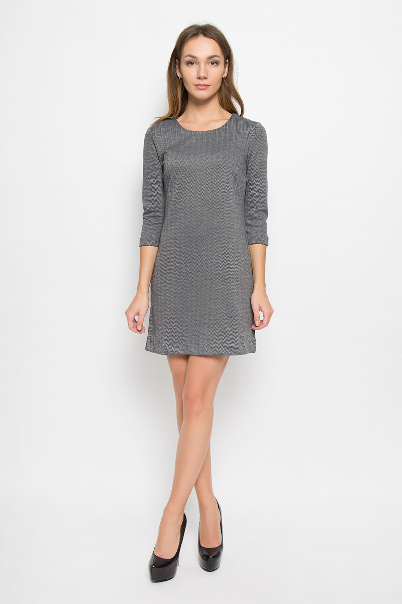 Платье Sela Casual, цвет: темно-серый меланж. DK-117/845-6445. Размер XS (42)DK-117/845-6445Стильное женское платье Sela Casual, выполненное из полиэстера и вискозы, отлично дополнит ваш образ. Модель длины мини с круглым вырезом горловины и рукавами 3/4.