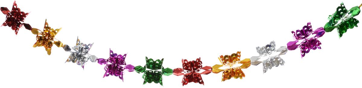 Гирлянда новогодняя Magic Time Снежинки ажурные цветные, 18,5 x 18,5 x 180 см42114Новогодняя гирлянда Magic Time Снежинки ажурные цветные прекрасно подойдет для декора дома и праздничной елки. Украшение выполнено из ПЭТ. С помощью специальной петельки гирлянду можно повесить в любом понравившемся вам месте. Легко складывается и раскладывается.Новогодние украшения несут в себе волшебство и красоту праздника. Они помогут вам украсить дом к предстоящим праздникам и оживить интерьер по вашему вкусу. Создайте в доме атмосферу тепла, веселья и радости, украшая его всей семьей.