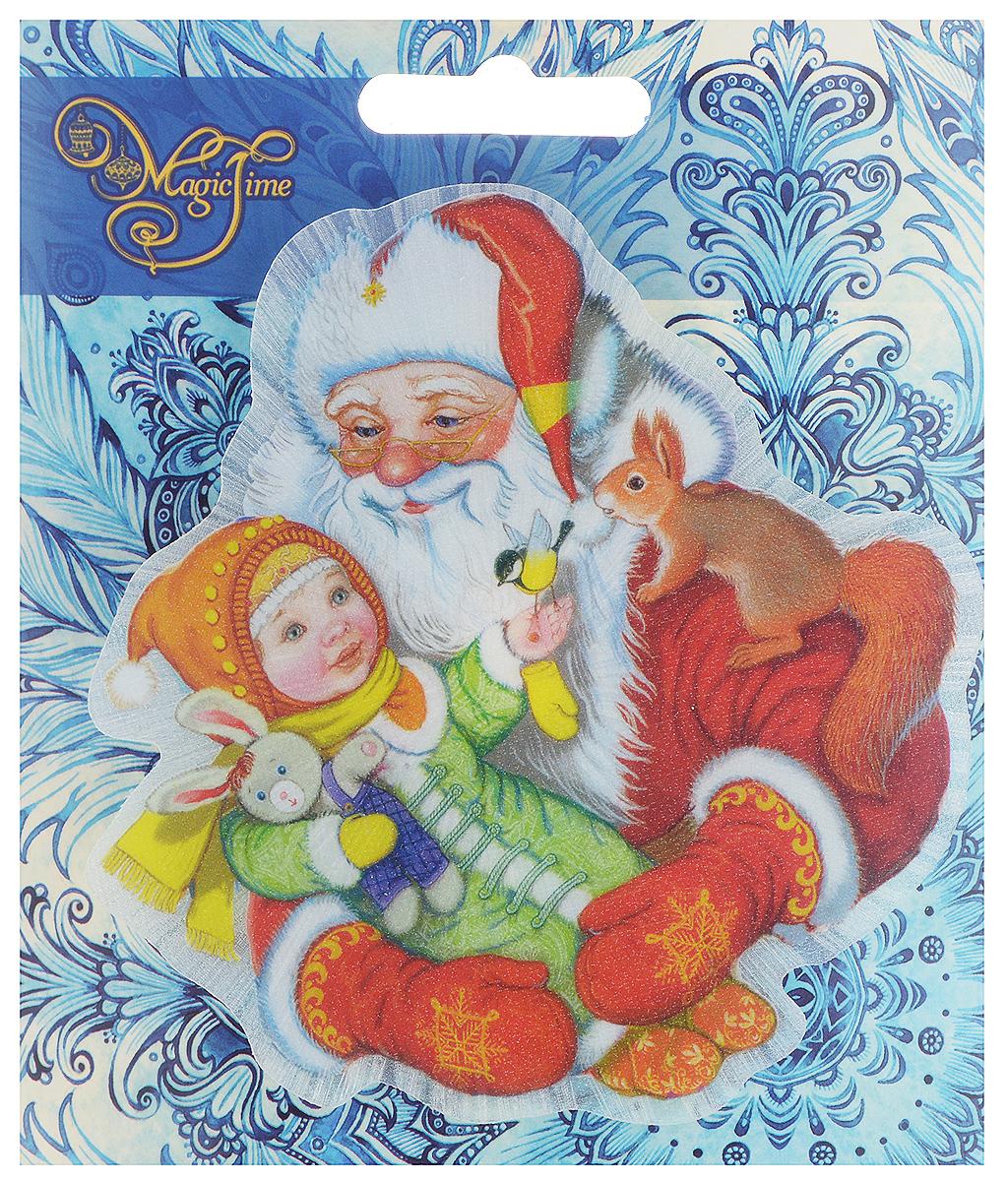 Украшение новогоднее Magic Time Дедушка Мороз с девочкой, со светодиодной подсветкой, 11,5 x 11 x 3 см. 42207 украшение новогоднее magic time снеговики со светодиодной подсветкой на присоске 10 5 x 10 x 3 см