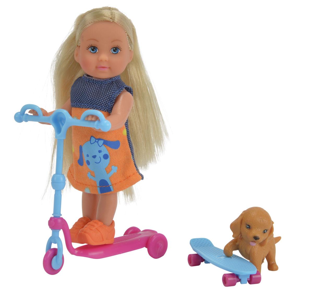 Simba Мини-кукла Еви на скутере цвет голубой розовый simba кукла evi