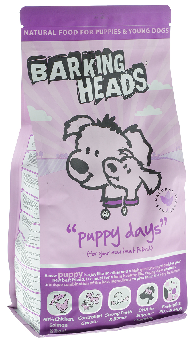 Корм сухой Barking Heads Puppy Days для щенков, с курицей, лососем и рисом, 2 кг спб корм корм для щенка бенто кронен
