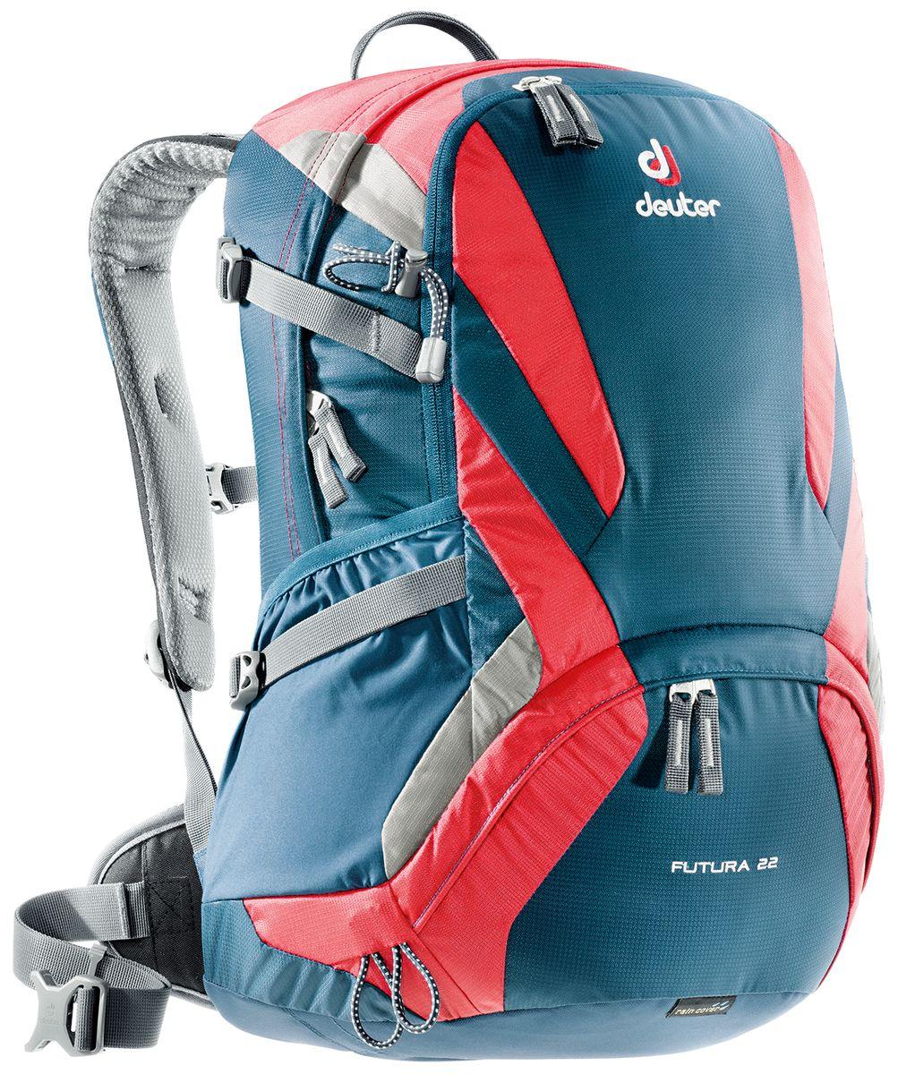 Рюкзак Deuter Futura, цвет: синий, красный, 22 л34204_3514Deuter Futura это ведущая модель среди легких рюкзаков Deuter. Futura сохранил свои плавные обводы, но теперь их цвета изменились. Первоклассная функциональность сочетается с отличной системой вентиляции Aircomfort. Они отлично смотрятся и в офисе, и в магазине, и в однодневном походе.Особенности: - поясной ремень с двухслойными набедренными подушками; - плечевые лямки из двухслойного поропласта со стабилизирующими ремнями; - боковые компрессионные ремни для регулировки объема, практичный карман спереди, боковые сетчатые карманы, внутренний карман для мелких вещей; - отделение для мокрой одежды, петли для телескопических палок. Вес: 1260 г.Объем: 22 л.Размеры: 52 x 32 x 24 см.