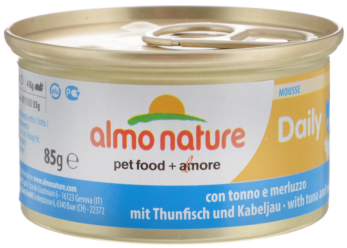Консервы для кошек Almo Nature Daily Menu, с тунцом и треской, 85 г20350Almo Nature Daily Menu - нежное мясо, превращенное вделикатный мусс с использованием ингредиентоввысочайшего качества. Любая привереда замурлыкает отудовольствия, если у нее в миске окажется такой деликатес.Особый метод приготовления консервированного корма AlmoNature Daily Menu сохраняет привлекательный аромат исвежесть продукта, ведь мясо приготавливается всобственном бульоне и только затем превращается в мусс.Минералы, также присутствующие в составе, особенно медь,участвуют в формировании костной и тканевой системе,выполняют функции антиоксиданта.Состав: мясо и его производные, рыба и ее производные(тунец 4%, треска 4%), минералы, экстракт растительногобелка. Пищевая ценность: белки 9,5%, клетчатка 0,4%, масла и жиры6%, зола 2%, влажность 81%. Калорийность: 881ккал/кг.Товар сертифицирован.