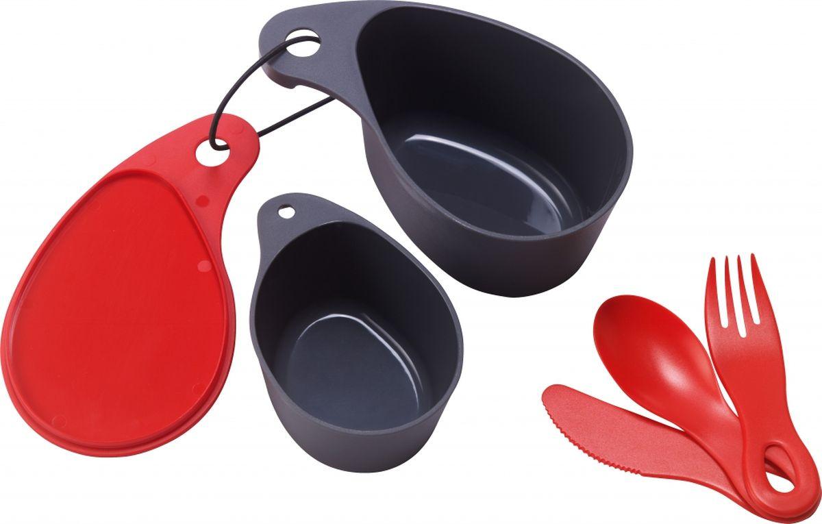 Набор посуды Primus Field Cup Set, цвет: красный. P734700P734700Универсальный набор посуды Primus Field Cup Set идеален для походов и путешествий.В комплект входят: миска для еды с крышкой (400 мл.), чашка (200 мл.), ложка, вилка и нож. Предметы скрепляются при помощи карабина.