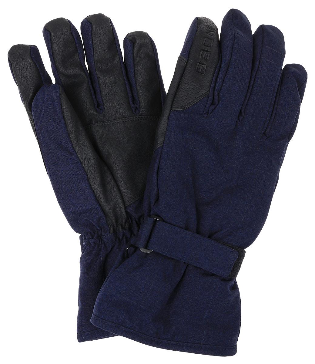 Перчатки мужские Baon, цвет: синий. B866506. Размер XL (52)B866506_DEEP NAVY MELANGEГорнолыжные перчатки Baon разработаны специально для поклонников зимних видов спорта. Модель легко снимается и в то же время надежно фиксируется на руке благодаря эластичной вставке на манжете и клапану на липучке, регулирующему объем. Подкладка изделия выполнена из мягкого полиэстера. Ладонная часть выполнена из прочного материала, препятствующего скольжению. Для удобного хранения перчатки оснащены пластиковой застежкой, соединяющей их вместе.