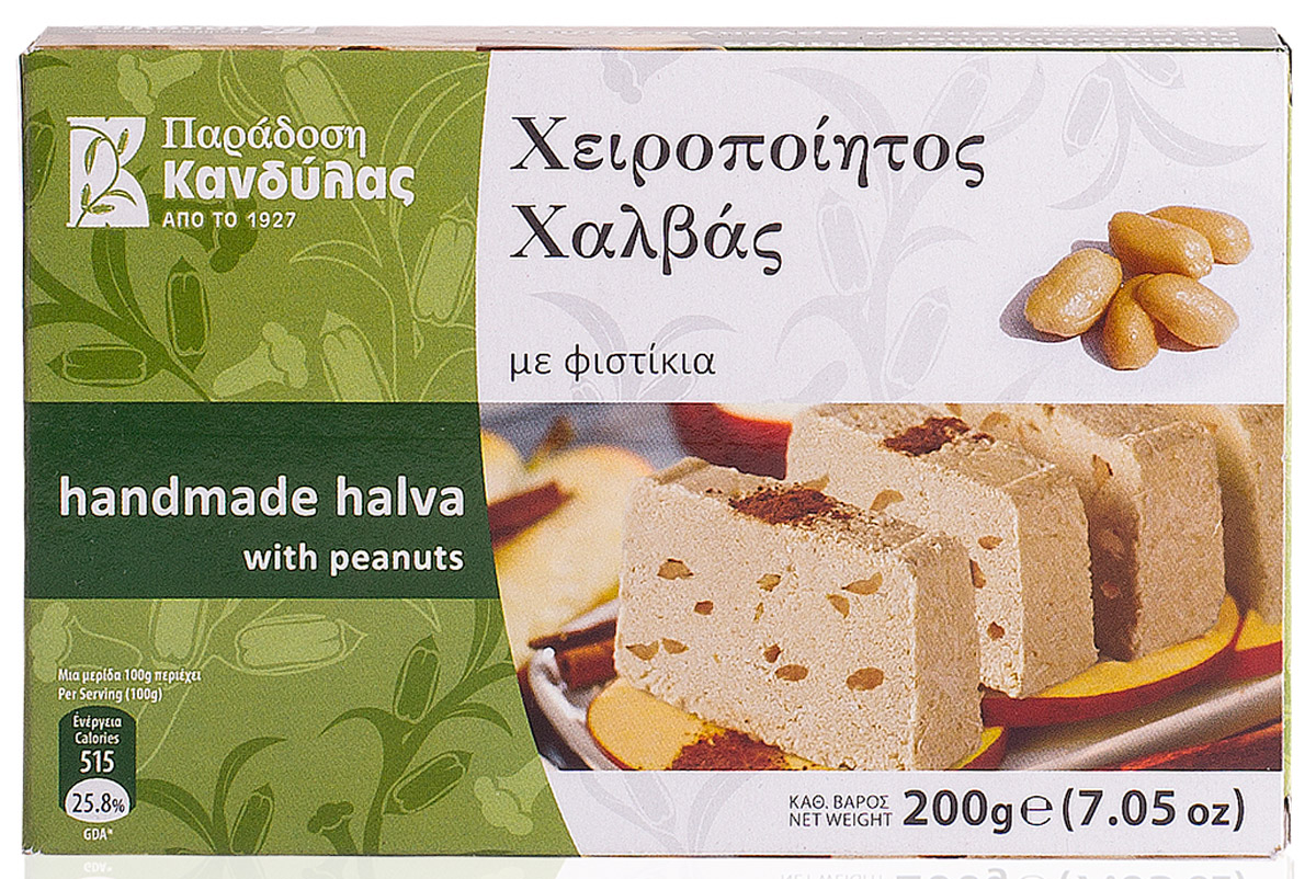 Kandylas халва с арахисом, 200 г13.0026Греческие сладости - халва кунжутная с арахисом.