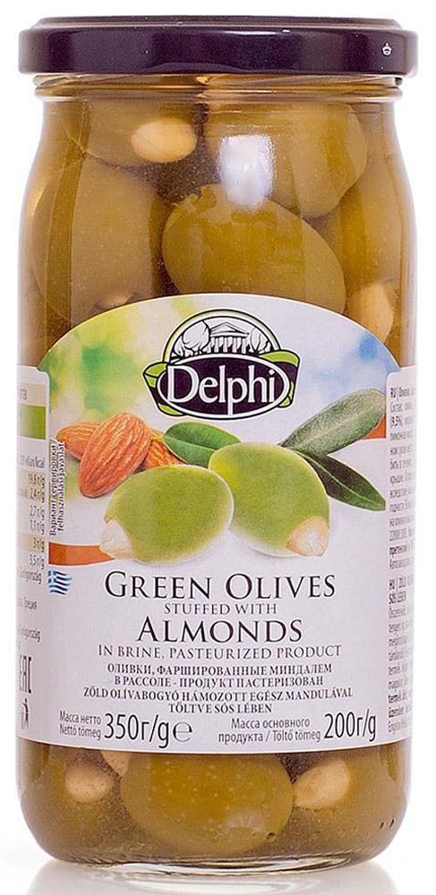Delphi Оливки фаршированные миндалем в рассоле, 350 г korvel натуральные зеленые оливки фаршированные миндалем супер колоссал 290 г