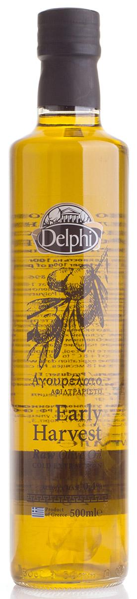 Delphi масло оливковое нефильтрованное Агурелео, 500 мл81.0036Этот сорт оливкового масла изготовляется из первых урожаев оливок. Продукт не очень известный, как тип оливкового масла на мировом рынке, но он очень востребован и любим в Греции. Delphi масло Агурелео производят из недоспевших зеленых оливок. Недозрелые оливки меньше содержат масла, но намного большее содержание полифенолов и антиоксидантов, что гарантирует им большую ценность и длительный срок сохранности. Это довольно дорогое оливковое масло. Оно имеет зеленый цвет и аромат оливок. Продукт пригоден для приготовления всех блюд.