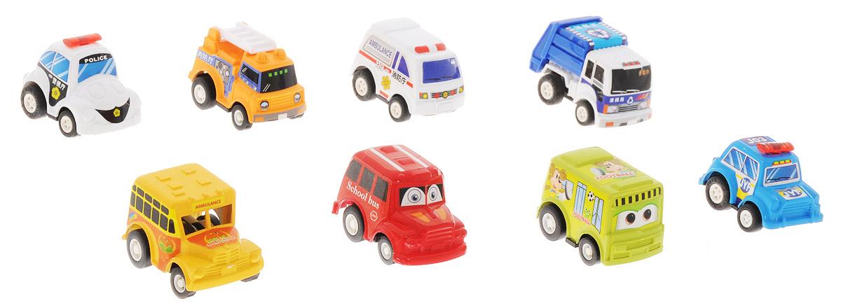 Дрофа-Медиа Набор инерционных машинок Городские автомобили 8 шт игрушка врумиз набор инерционных машинок спиди софи слон пожарный