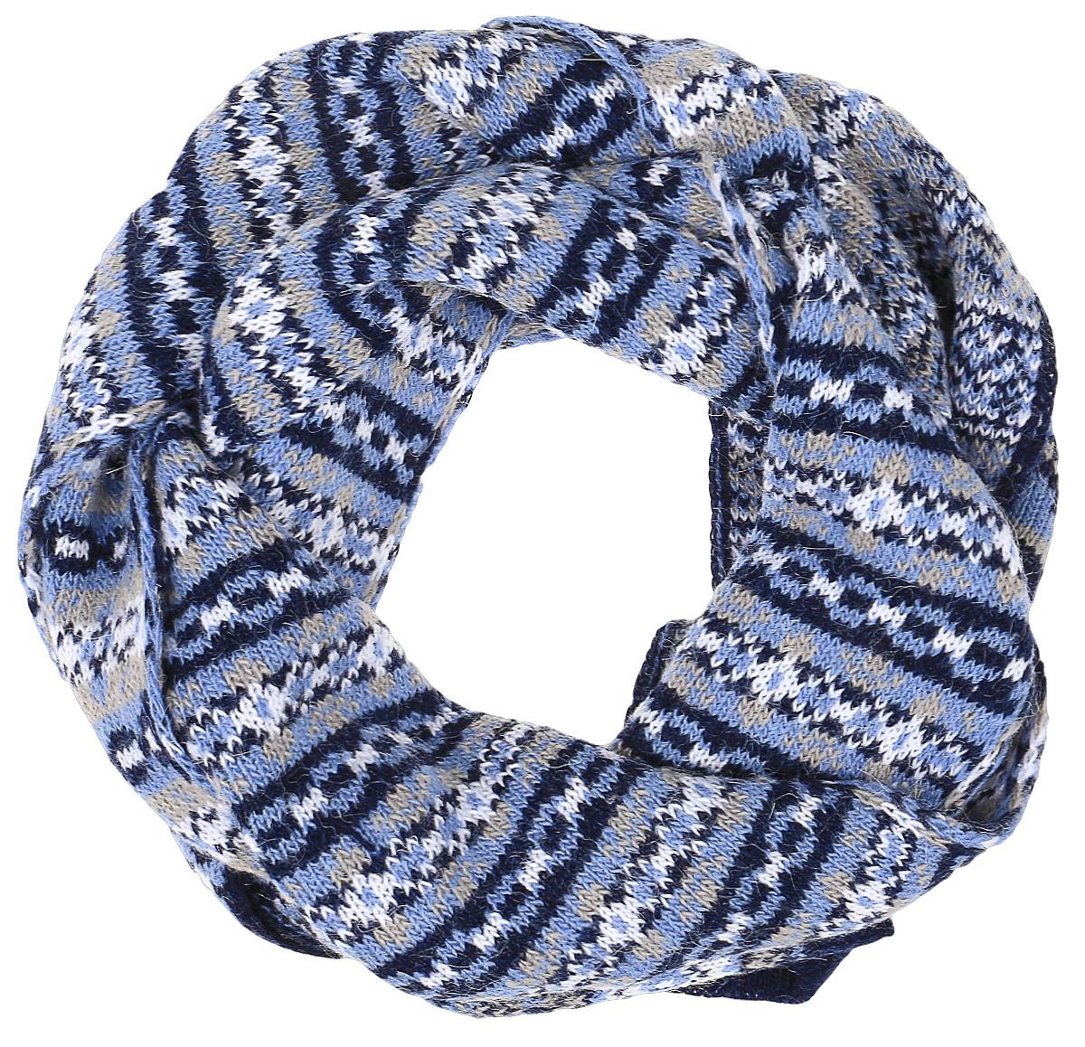 Шарф женский Finn Flare, цвет: темно-синий, голубой. W16-12118_101. Размер 20 см х 160 см джемпер мужской finn flare цвет темно синий бежевый w16 22105 101 размер s 46