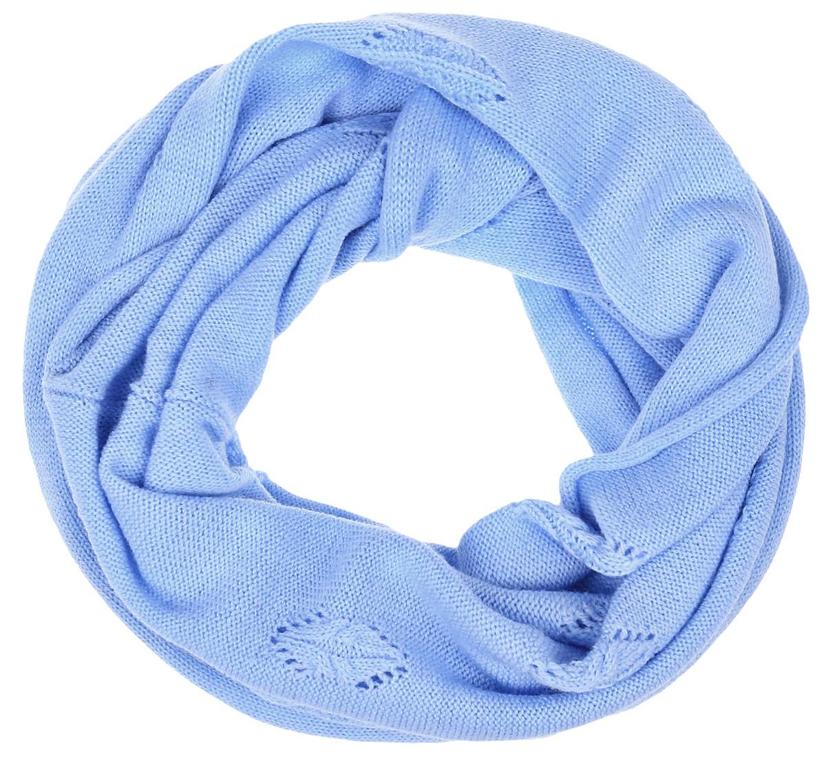 Снуд-хомут женский Finn Flare, цвет: голубой. W16-11125_139. Размер 40 см х 160 смW16-11125_139Женский снуд-хомут Finn Flare выполнен из высококачественного акрила с добавлением теплой шерсти. Модель связана кольцом и имеет вязку с небольшим узором. Снуд-хомут дополнен металлической пластиной с названием бренда.