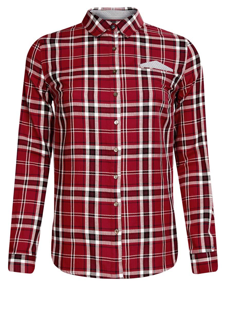 Рубашка женская oodji Ultra, цвет: красный, черный, белый. 11406019/43593/4529C. Размер 40 (46-170)